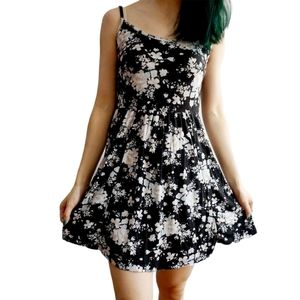 Brandy Melville Black Floral Spaghetti Strap Dress